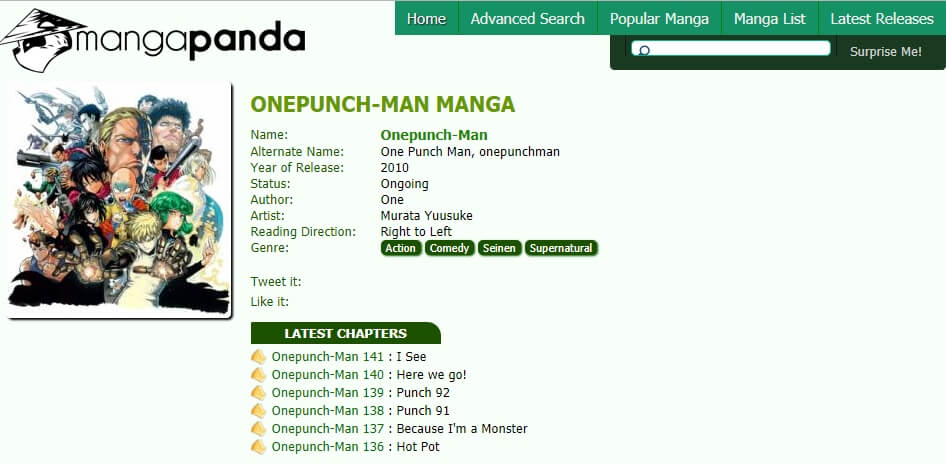 manga panda one punch man