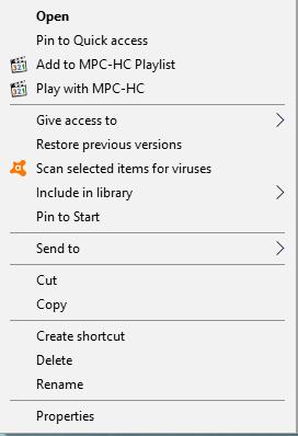 avast context menu