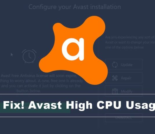 fix avast high cpu usage